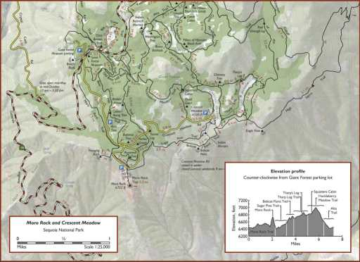 Redwoohikes.com Sequoia - mapa parku