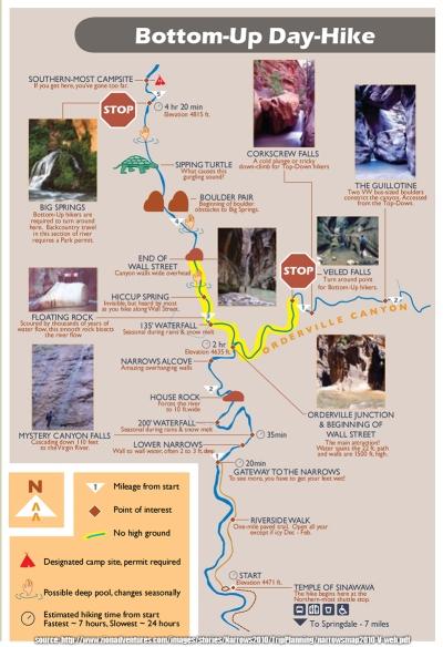 Narrows - mapa parku