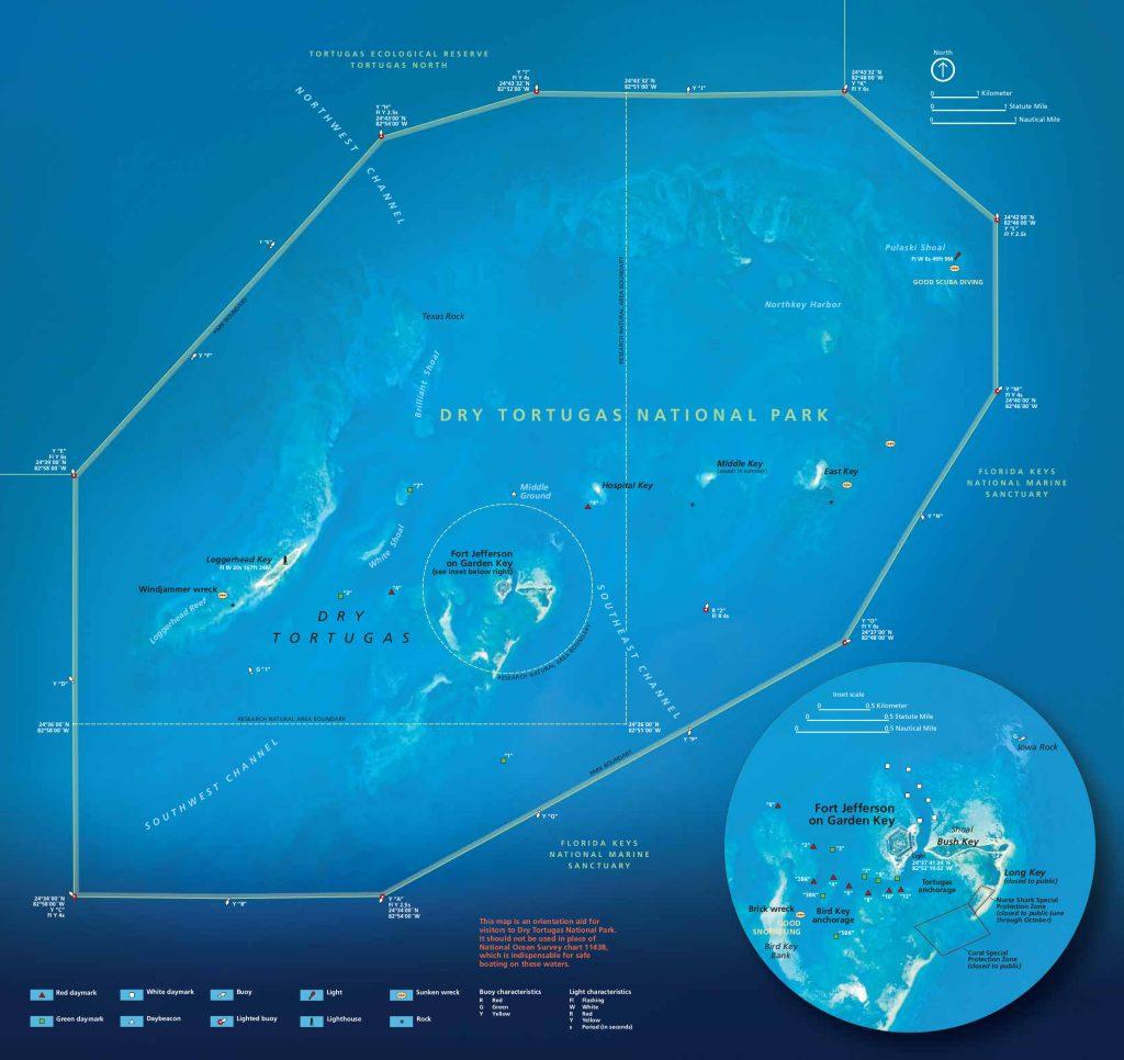 Dry Tortugas - mapa parku