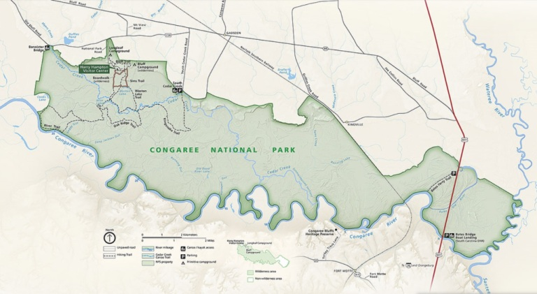 Congaree - mapa parku