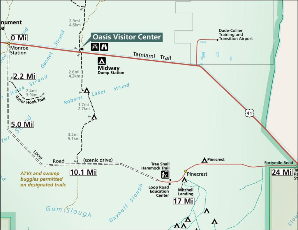 Loop Road - mapa parku