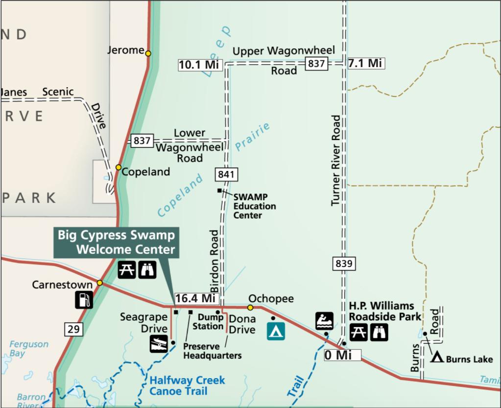 Turner River Road - mapa parku