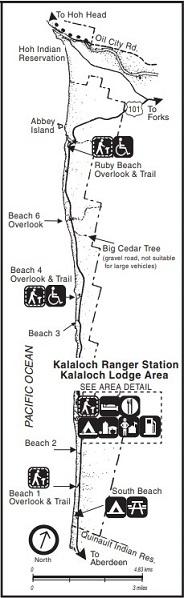 Olympic Kalaloch - mapa parku