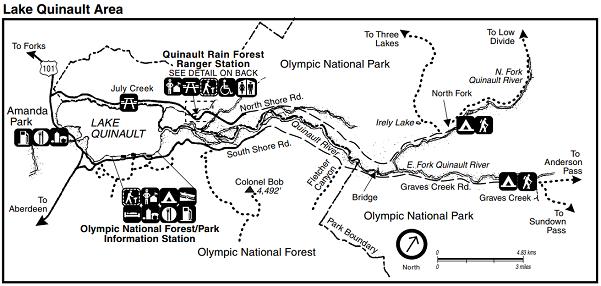 Olympic Quinault - mapa parku