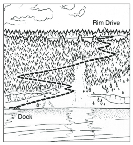 Crater Lake Cleetwood Cove - mapa
